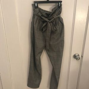 Grey Plaid Tie Waist Trousers